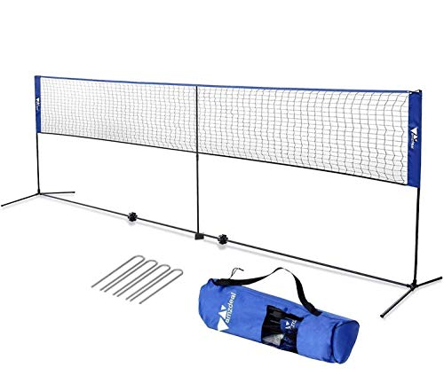 amzdeal Badminton Net 17ft / 5.1m Kids Tennis Net Portable Net for Badminton, Indoor/Outdoor Court, Backyard, with Steel Frame, Hooks, Adjustable Height