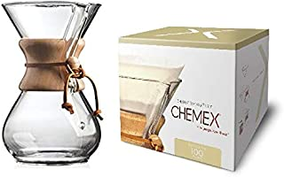 Chemex Classic Series, Pour-Over Glass Coffeemaker, 6-Cup with Chemex Bonded Circle Coffee Filters, 100 Count