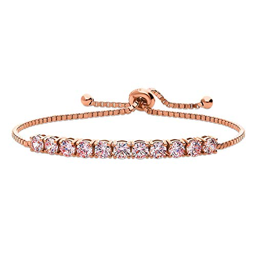 BERRICLE Rose Gold Flashed Sterling Silver Bar Fashion Tennis Bracelet Made with Swarovski Zirconia Morganite Color
