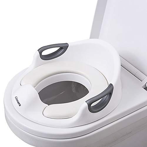 Gimars Toilettensitz Kinder,Kinder WC Sitz für Jungen und Mädchen, Töpfchen Training Sitze mit Griff, Baby Potty Training/Trainingssitz/Toilettentrainer (Weiß)