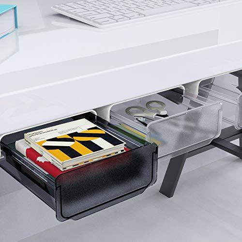 Fealkira Skrivbordslåda, skrivbordslåda för kontor/sovrum/skolrum/kök, självhäftande förvaring under skrivbord för iPad/telefon/pennor/pennor/nycklar/silver (svart transparent)