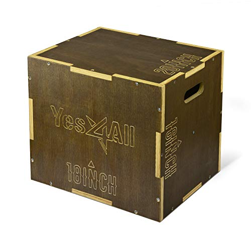 Yes4All Wooden Plyo Box - Vintage - Moss Brown - 20 x 18 x 16