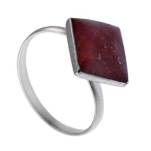 Chic-Net Korallenring Silberfassung Silberring Koralle Schmuck Ring eckig rot 925er Sterling Silber