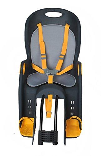 ISO TRADE Kinderfahrradsitz Fahrradsitz Sicherheitssitz Fahrrad Kindersitz + Halterung 1623, Farbe:Schwarz-Grau