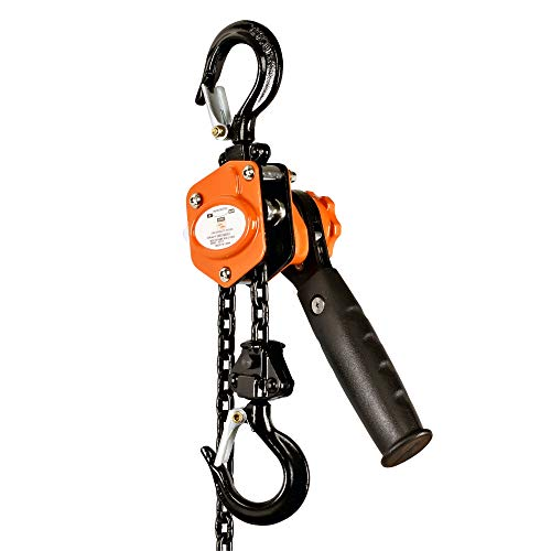 SuperHandy Manual Chain Hoist Come Along 1/4 TON 550 LBS Capacity 5FT Lift 2 Heavy Duty Hooks Commercial Grade Steel for Lifting Pulling Construction Building Garages Warehouse Automotive Machinery