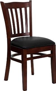 Flash Furniture 4 Pk HERCULES Series Vertical Slat Back Mahogany Wood Restaurant Chair