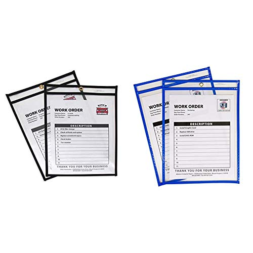 C-Line Stitched Shop Ticket Holders, Both Sides Clear, 9 x 12 Inches, 25 per Box (46912) & Neon Stitched Shop Ticket Holders, Blue, Both Sides Clear, 9 x 12 Inches, 15 per Box (43915)