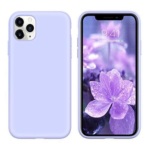 YINLAI iPhone 11 Pro Max Case Liquid Silicone Slim Fit Soft Rubber Cover Shockproof Protective Non Slip Grip Hybrid Hard Back Bumper Girls Women Phone Cases for iPhone 11 Pro Max 6.5' Lavender/Purple