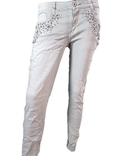 Donna Super Jeans Stretch Strass Perle Pantaloni