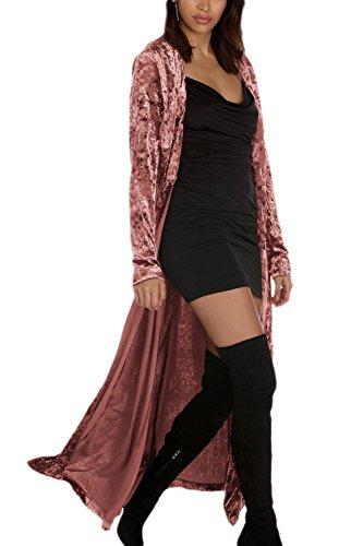 Elegante Chaqueta De Mujer Manga Larga Bata De Terciopelo Frente Abierto Pink XXL