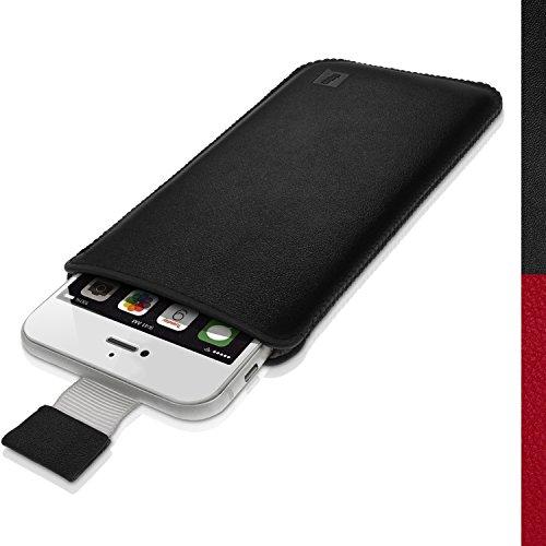 iGadgitz U3172 Custodia Pelle Borsa Sacchetto Compatibile con Apple iPhone 7, 6S & 6 4.7' Cover - Nero