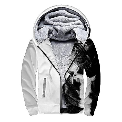Black French Bulldog White Hoodies for Men Heavyweight Fleece Sweatshirt - Full Zip Up Thick,XXXL