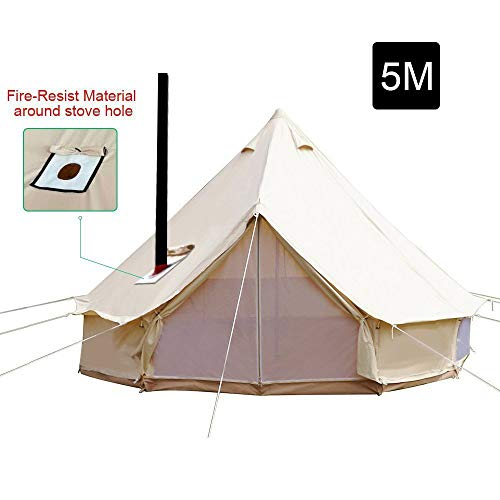 PlayDo 5M/16.4ft Waterproof Cotton Canvas Wall Tent Bell Yurts Tent with Stove Hole for 6-8 Person Camping Hiking Hunting Festival Party