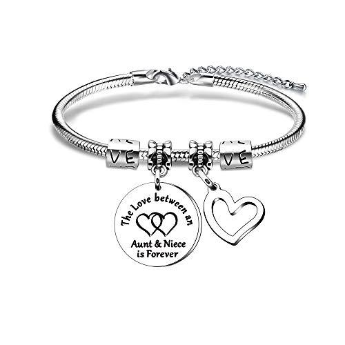 Pulsera ajustable con colgante de corazón de plata para tía y sobrina, con dije: 'El amor entre una tía y sobrina es para siempre'
