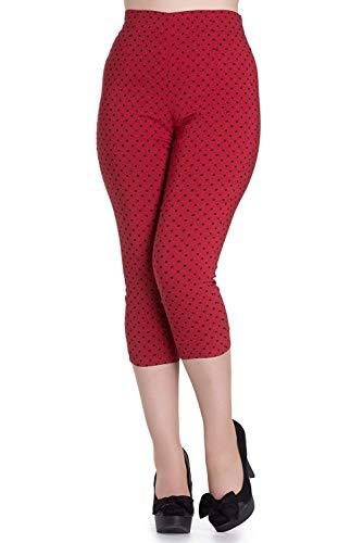 Pantalones piratas de Hell Bunny Rojo Kay Lunares de estilo Vintage de los 50s - (S - ES 38)