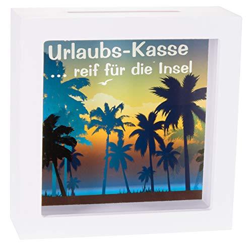 BRUBAKER Bilderrahmen Spardose Urlaubs-Kasse - Reif für die Insel - Kreatives Geldgeschenk für den nächsten Urlaub aus Holz zum Befüllen - 3D Bilderrahmen Weiß