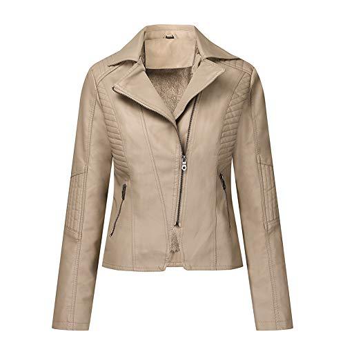 Damen PU Lederjacke Plus Samt Gesteppt Bikerjacke Mit Reißverschluss Kurze Jacke 4 Farben,Khaki,M