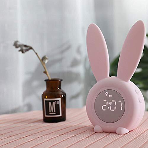 Nachtlampje, kleine wekker, schattige konijnenwekker, creatieve 3D stereosmallal, kleine wekker, led-nachtlampje, elektronische horloge voor dames, heren, tieners, kinderen roze