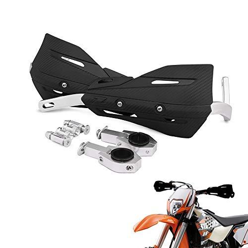 22 mm und 28 mm Aluminium Motorrad Hand Brush Guards Handprotektoren Universal Mounting Kits für Honda Yamaha Kawasaki Suzuki Dirt Bike MX Motocross Supermoto Racing ATV (schwarz)