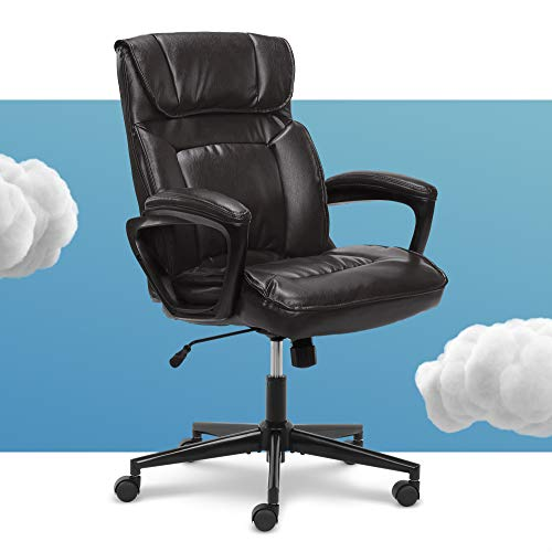 Serta Hannah Microfiber Office Chair with Headrest Pillow, Adjustable Ergonomic with Lumbar Support, Soft Fabric, Bonded Leather, Black