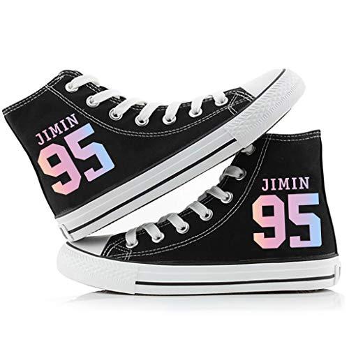 LXYA Kpop Black Star Stage Fashion Hip Hop Style - - zufällige Turnschuhe BTS Schuhe/Lace-up mit Bangtan Boys Team Member Nummer + Name Print - A.R.M.Y Geschenke Armee (Color : V-2, Size : 35)