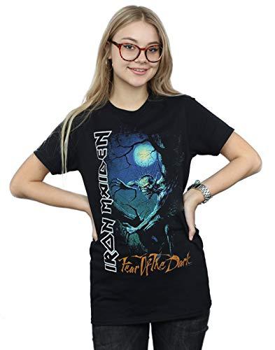 Iron Maiden Mujer Fear of The Dark Camiseta del Novio Fit Negro Medium