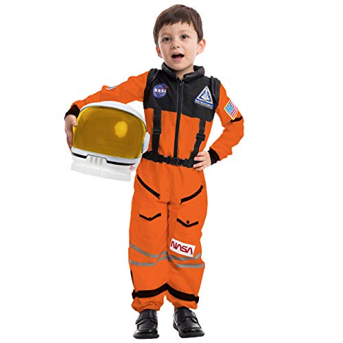 Astronaut Orange Costume with Helmet (Medium)