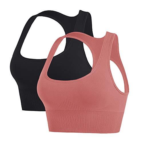 Sujetador Deportivo Mujer Sport Bra sin Costuras Alto Impacto Gimnasio Ropa con Almohadillas Yoga Fitness (Negro+Rosa, L)