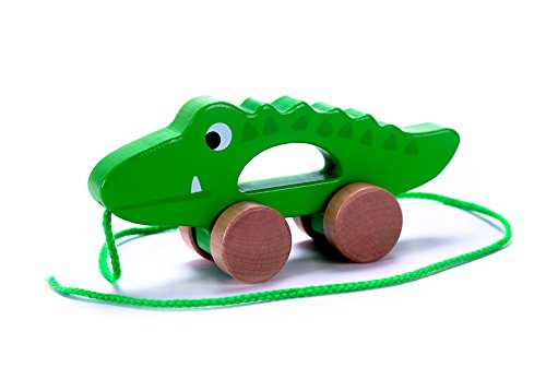 Cubbie Lee Adorable Crocodile Wooden Push & Pull Along Toy for Baby & Toddler - Rolls Easy, Sturdy String Attached to Animal | Classic Developmental Toy for 1 & 2 Year Old Boys & Girls