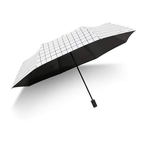 Kleine Frische Gitter Regenschirm Kreative Schwarz Kunststoff Sonnencreme Uv Männer Und Frauen Dreifachgefaltete Sonnenschirm Sonnenschirm Fabrik Sonnenschirm Weiß (Acht Knochen Manuelle Vinyl)