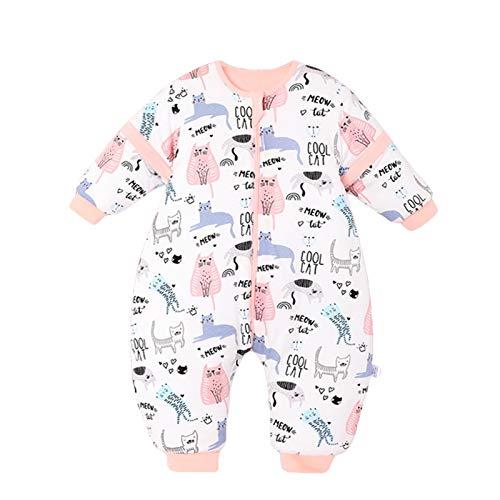 Bebé Saco de Dormir con Piernas Invierno Algodón Pijama Dividida Manga Cálido Mamelucos Dibujos Animados Mono Niños Niñas 0-2 años 3.5Tog Gato rosa