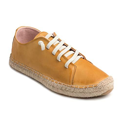 CHACAL Shoes – Zapatillas para Mujer de Piel – Color Jeans, Mostaza o Rojo – con cordón elástico para un Calzado fácil – Tallas EU 36 a EU 41