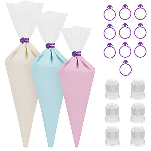 "Kootek 28 Pcs Cake Decorating Tools with 12 Reusable Silicone Piping Pastry Bags 3 Sizes (12"" + 14"" + 16"") , 6 Standard Couplers and 10 Icing Bag Ties Baking Supplies Accessories (Clear)"