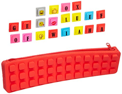 WAFF Soft Silicone Kase Pencil Case 825 inches x 225 inches x 125 inches 20 Assorted Cubes - Red