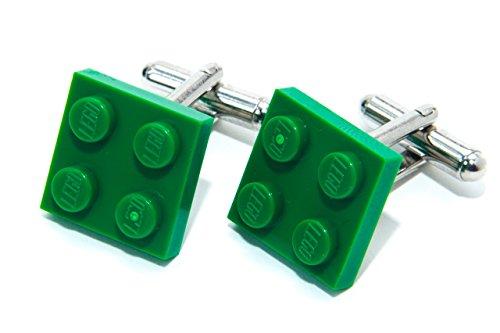 Vert véritable plaque de Lego Boutons de manchette – Funky rétro Cool Boutons de manchette fabriqué par Jeff Jeffers