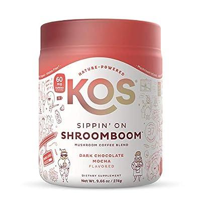 KOS Sippin' on Shroom Boom Mushroom Coffee, 37 Servings - Dark Chocolate Mocha Flavor - Organic Instant Coffee Mix with Reishi, Cordyceps, Lion's Mane, Chaga & Turkey Tail Mushrooms