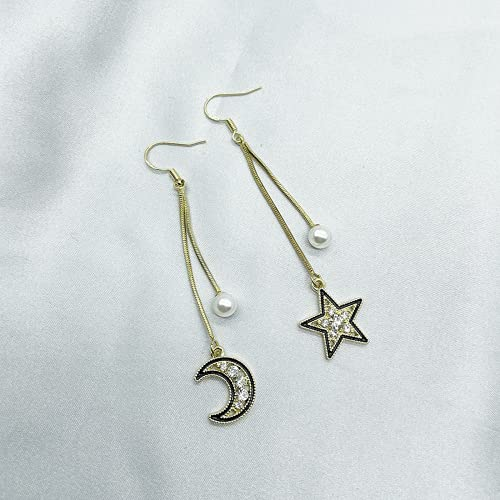 Entplg Star Moon Ear Anillos Femenino Pendientes Largos Pendientes completos Pendientes Fregaderos Pendientes personales