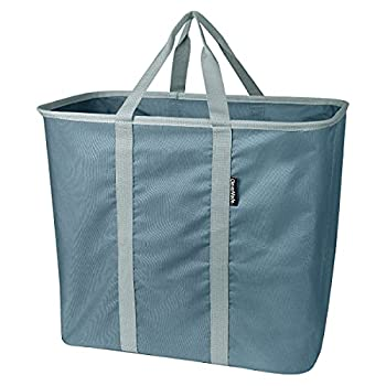 CleverMade Collapsible Laundry Tote Large Foldable Clothes Hamper Bag Laundry Caddy Carry All Bin XL Pop-Up Storage Basket with Handles Dark Teal/Light Teal