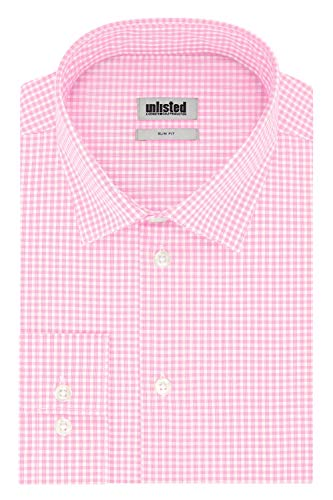 Kenneth Cole Unlisted Men's Dress Shirt Slim Fit Checks and Stripes (Patterned), Petal, 15'-15.5' Neck 32'-33' Sleeve (Medium)