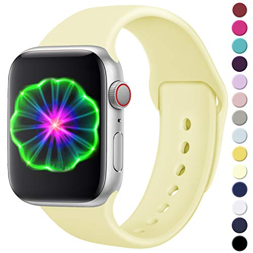 Laffav Compatible with iWatch Band 38mm 40mm, Small/Medium, Silicone Replacement Band Compatible with Apple Watch Series 4, Series 3, Series 2, Series 1, for Women Men, Mellow Yellow