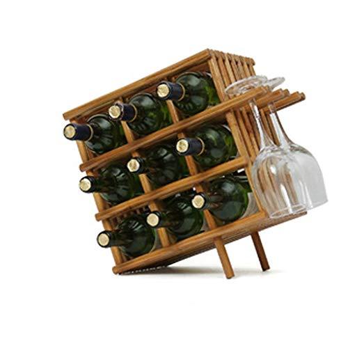DJY-JY - Botellero Cuadrado de Madera de bambú para Mesa con Ranuras para 9 Botellas de Vino, 3 Copas de Vino, Soporte para Colgar, Bar, Bodega, sótano