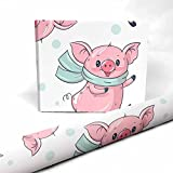 InterestPrint Cute Cartoon Pigs Dancing Wrapping Paper Sheet for Gift Packaging, Easter, Birthday Decor 1 Sheet