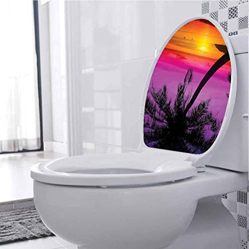 Toilet Decor Silhouette Tropical Beach Sunset Summertime Travel ati Purple Orange Removable Waterproof Toilet Seat Wall Stickers 3D Toilet Funny Bathroom Seat Decor, 33 x 41 cm