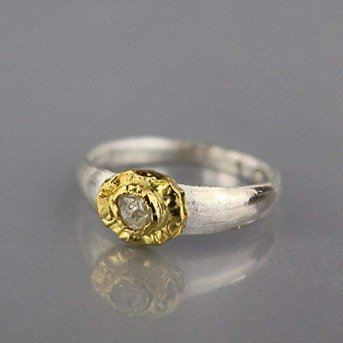 Raw Diamond Engagement Ring Set in 22K Solid Gold Bezel with a Sterling Silver Band, Rough Diamond Wedding Ring 22k Gold Fancy Ring