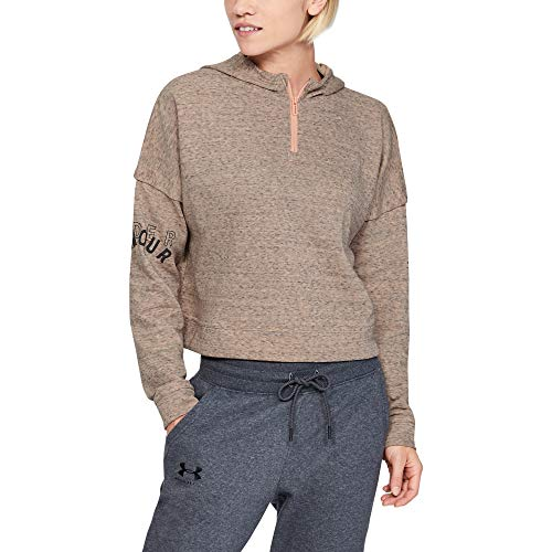 Under Armour Rival Terry Sudadera con Capucha para Mujer, Mujer, Capucha, 1351806, Calla Full Heather (689)/Jet Gray, S