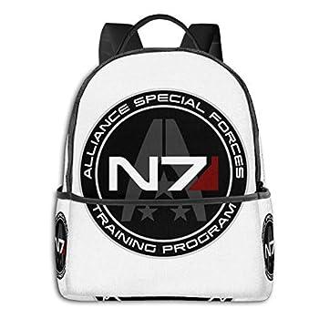 N/C Backpack Travel Mass Effect N7 School Bags Shoulder Laptop Backpack Men Ladies Girls Schoolbags Black