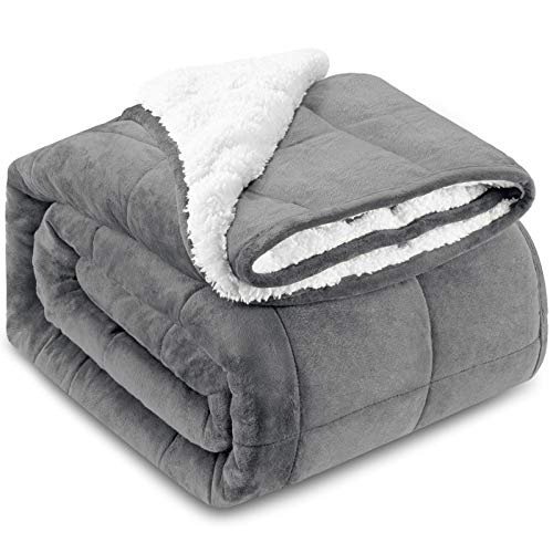 """HBlife Sherpa Fleece Weighted Blanket for Adults, Oeko-Tex Certified 12 lbs Thick Fuzzy Bed Blanket, Heavy Reversible Soft Fleece Blanket with Premium Glass Beads 48"""" x 72"""", Grey"""