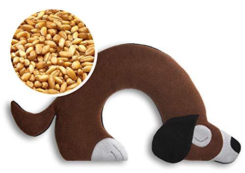 CUSCINO RISCALDABILE Leschi per la pancia e la schiena Per collo, cervicale e coliche dei neonati Per microonde, con semi di grano Bobby il cane, marrone nero