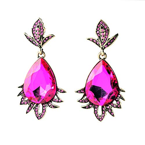SupKey.L Tres Colores Brillantes Flor de Cristal Encanto Elegante Fiesta de Noche Pendientes de Oreja Chapado en Oro Rojo Antiguo