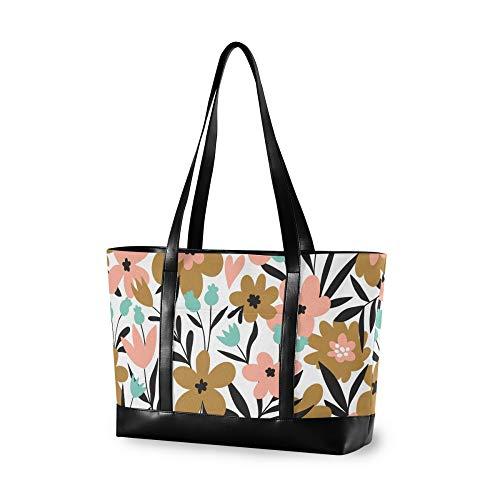 VALLER Women's Canvas Bag Laptop Shoulder Bag Lovely Baby Flowers Fabric New Printed Design Laptop Bag Multicolor 14.65.111.8in